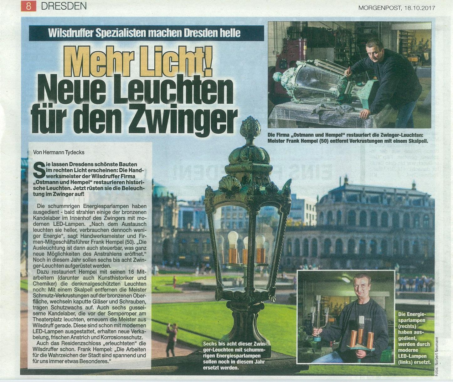 Zeitungsartikel in der Dresdner Morgenpost vom 18.10.2017