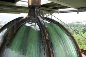 Laterne, Zustand während der Restaurierung:  demontierte Kappleisten