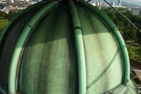 Laterne, Zustand nach der Restaurierung:  neue Lötnähte an den Kappleisten