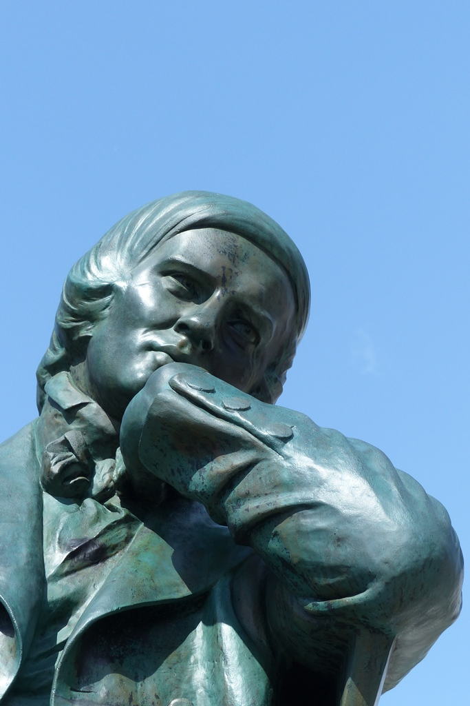 Robert-Schumann-Denkmal, Zwickau: Detailansicht Kopf, Endzustand
